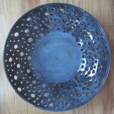 omg gorgeous Pottery Lacey Bowl - Blue - Carved Pottery by The Wheel and I. $100.00, via Etsy.