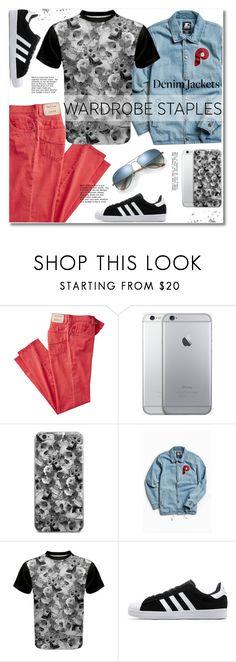 """Wardrobe Staple: Denim Jackets"" by svijetlana ❤ liked on Polyvore featuring Starter, adidas, Ray-Ban, men's fashion, menswear, polyvoreeditorial, denimjackets, WardrobeStaples and spfashion"