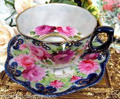 Nippon Mustache Moustache Tea Cup and Saucer Cobalt Blue Roses Teacup | eBay