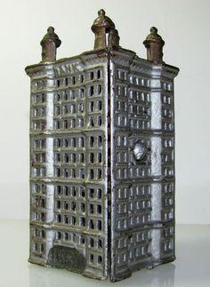 Gold Silver Antique Cast Iron Skyscraper Penny Coin Bank Building Still Toy | eBay