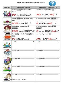 Students can learn the differences , changes in the tenses present simple and present continuous tenses. They can write questions as in the examples. Practice English Grammar, Grammar For Kids, Teaching English, English Time, English Verbs, Learn English, English Activities, Time Activities, Funny Questions