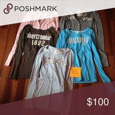 5 Abercrombie Shirts Long sleeve. Runs small, will fit small/XS. Like new! Abercrombie & Fitch Tops Tees - Long Sleeve