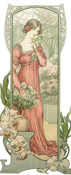 mote-historie:  Fleur des Serre (Greenhouse Flowers) - 1900 - by Elizabeth Sonrel (French, 1874-1953) - Art Nouveau Postcard