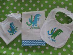 Personalized Dinosaur bib burp cloth & onesie by TinyCuties4Cuties, $45.00