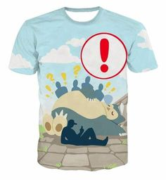 816d584f Pokemon Go Snorlax Too Big Sleeping Loading Screen Cute Style 3D T-shirt