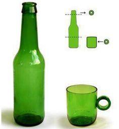 Con estas sencillas instrucciones puedes transformar botellas vacías en vasos, ceniceros,  floreros y tazas.