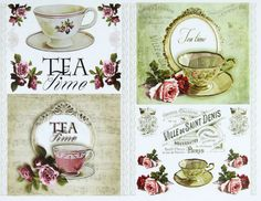 Classic Decoupage Paper, Craft Scrapbooking Sheets  Tea Time