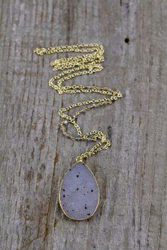 Dalmatian Druzy Necklace with labradorite stone by joydravecky www.joydraveckyjewelry.com boho jewelry, handmade jewelry