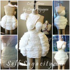 Pizza Slices Paper Plates Coffee Dress & Recycled fashion. I made this dress out of paper plates spoons and ...