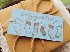 Christmas Tags Holiday Stockings Blue Set of 8 by LazyDayCottage