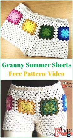 Crochet Granny Summer Shorts Free Pattern [Video] - Crochet Summer Shorts