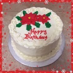 Christmas Poinsettia Birthday Cake