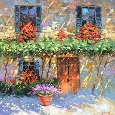 House of flowers Wall Art Oil Painting On Canvas by by spirosart