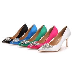 Womens Satin Rhinestone High Heel Pointed Toe Pumps Wedding Shoes Prom Stilettos | Clothing, Shoes & Accessories, Women's Shoes, Heels | eBay!