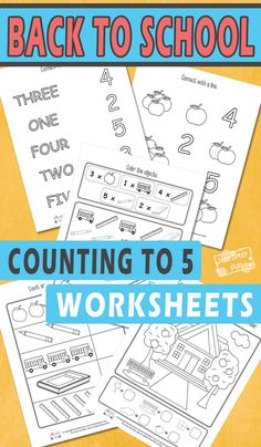 Free Printable Back to School Counting to 5 Worksheets for Kids Math Games For Kids, Printable Activities For Kids, Math Activities, Free Printables, Toddler Activities, All About Me Activities, First Day Of School Activities, School Fun, School Days