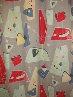 1950's Curtains Atomic Barkcloth Fabric Mid Century Modern Rockabilly Vintage | eBay