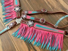Pink with Metallic Turquoise Fringe Leather Breast collar