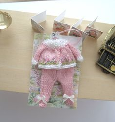 dollhouse knitted matinee coat and leggings pram set embroidered 12th scale miniature dolls clothes by Rainbowminiatures on Etsy