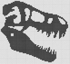 (9) Name: 'Sewing : T-Rex Tyranosaurus Skull Cross Stitch