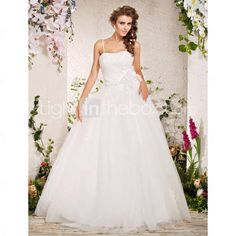 Ball Gown Strapless Sweep / Brush Train Wedding Gown With Flowers