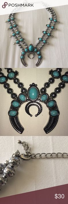Squash Blossom Boho Necklace Designer inspired. Boho faux turquoise and faux silver Costume Jewelry. 18 inch necklace with 3 inch extender. Looks similar to the expensive designer style costume Jewelry Necklaces