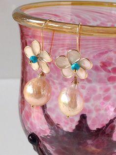 Turquoise & Kasumi Like Pearl  Enamel Flower by LoveYourThreads, $78.00