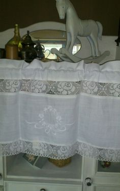 Scheiben Gardine White Rose 40x100cm Landhaus weiß Spitze *ShabbyChic