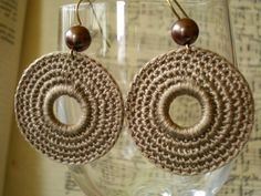 Crochet Earrings in light brown. Looove these!