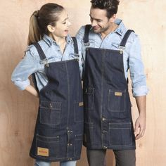 Women Men Denim Kitchen Apron Breathable Hotel Cafe Baking Restaurant Bar Beautician Halter Pocket Fashion