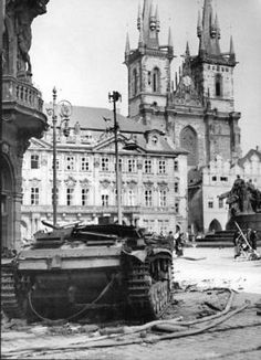 Destroyed Stug III in Prague, during Prague uprising in may Old town square, pin by Paolo Marzioli Prague Spring, Prague Photos, Prague Czech Republic, Old Town Square, Europe, Panzer, World War Two, Historical Photos, Old Photos