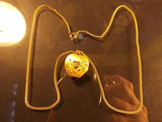 "Vintage 1/20 14k Gold Filled Heart Shaped Pendant Charm Locket w/Engraved 'B' on Front & 18"" Link Chain [FA03]"