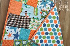 My new nephew arrived yesterday and I am just dying to see, smell, and kiss him. I shipped off his quilt and other baby goodies (like this h...