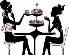 Cupcake Ladies Hand Drawn Clip Art PNG Image