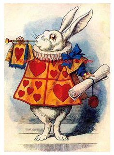 Alice In Wonderland White Rabbit Hearts Sounding Trumpet 8x10 Fabric Block