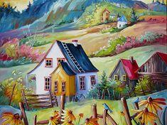 Billedresultat for daniel vincent Fantasy Landscape, Abstract Landscape, Art Fantaisiste, Cottage Art, Acrylic Artwork, Whimsical Art, Garden Art, Home Art, Watercolor Art