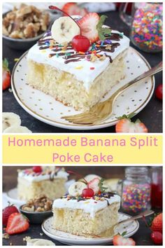 This homemade Banana Split Poke Cake recipe features a homemade vanilla cake with a banana pudding filling and topped with whipped cream and your favorite banana split toppings! Banana Split Cake Recipe, No Bake Banana Pudding, Banana Pudding Poke Cake, Icing Recipe, Frosting Recipes, Cake Recipes, Dessert Recipes, Recipes Dinner, Homemade Vanilla Cake