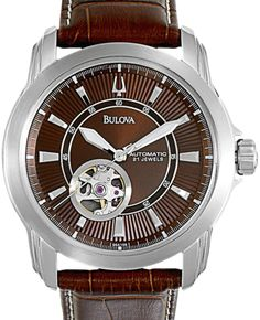 Bulova 96A108 is a beautiful looking automatic self-wind watch. It has a brown patterned face with a complementing brown leather strap.   A good thing about automatic watch is its not using a battery to run. It will recharge itself naturally just by using the watch on your wrist.