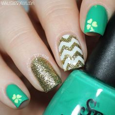 "WEBSTA @ nails_by_erin - Hi everyone! 😊 Happy (early) St. Patrick's Day ☘ I love St. Patrick's Day, so I had to do some quick and easy nails to celebrate. I hope you guys like this design! 😄 The green polish is Salon Perfect ""Escape to Neverland"" and the gold polish is I Scream Nails ""That's Rich!"". If you want to read more info about this mani, then check out my blog 💜www.nailsbyerin.com💜 If you want to see my YouTube tutorial for this mani, then ⭐️️CLICK THE LINK IN MY BIO⭐️ to watch…"