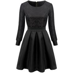 Choies Black High Waist Lace Crochet Long Sleeve Skater Dress (1,620 PHP) ❤ liked on Polyvore featuring dresses, vestidos, black, robes, longsleeve dress, black skater dress, lacy dress, black lace dress and long sleeve dresses