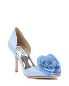 powder blue shoes with organza flower