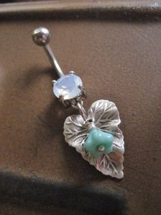 Leaf Mint Green Flower Opal Belly Button Ring by Azeetadesigns, $14.00