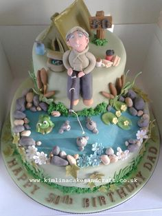 Fisherman Cake Cake by kimlina Fish Cake Birthday, Birthday Cakes For Men, Dad Birthday, Fisherman Cake, Camping Cakes, Boat Cake, Afternoon Tea Cakes, Retirement Cakes, Sculpted Cakes