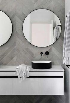 Mirror Bathroom Modern Best Of Chevron Modern Grey Tile Bathroom Wall Ideas Bathroomtileideas Neutral Bathroom Tile, Laundry In Bathroom, Grey Bathrooms, Budget Bathroom, Bathroom Renovations, Modern Bathroom, Bathroom Ideas, Bathroom Designs, Master Bathroom