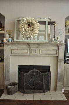 chalk painted-fireplace-mantel