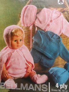 "PDF File Vintage Dolls Clothes Size 16"", 18"", 20"" doll Bellmans Knitting Pattern 1289 on Etsy, £1.49"