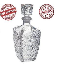 New Decanter Vintage Glass Whiskey Wine Liquor Crystal Bottle Jim Beam Bar Gift…