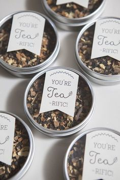 A popular party favor for weddings is a small tin of tea; it's even better because of the pun!