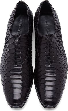 Haider Ackermann Black Python Leather Oxfords .
