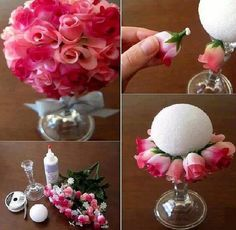 DIY quick and easy floral centerpieces for wedding.