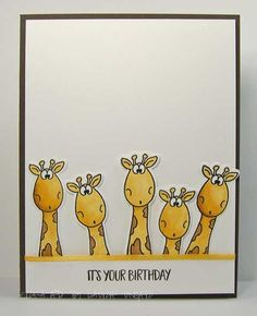 Funny giraffe card by: Laurie's Stampin Place: It's your birthday Cricut Birthday Cards, Birthday Cards For Boys, Masculine Birthday Cards, Funny Birthday Cards, Handmade Birthday Cards, It's Your Birthday, Giraffe Birthday, Animal Cards, Card Making Inspiration
